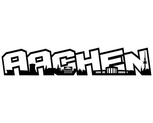 Samunshi® Wandtattoo Aachen Schriftzug Skyline Wandsticker Aachen schwarz 120x22cm