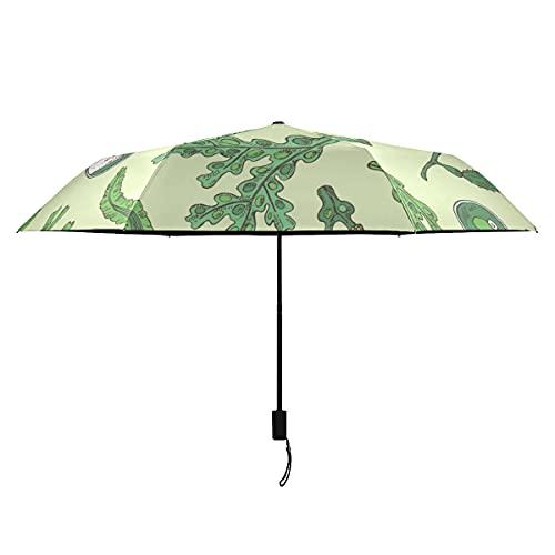 Paraguas de colores para mujeres, verde, agua de mar, alimentos biológicos, algas marinas, paraguas resistente a prueba de viento, portátil, ligero, a prueba de viento, para niñas, paraguas