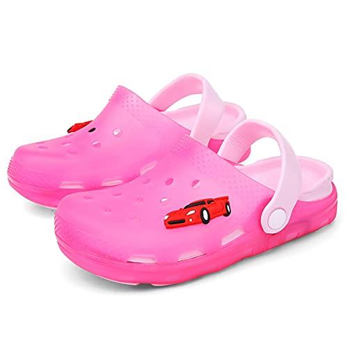 HSHOR Zapatillas para niños, Zapatos de jardín de Zuecos para niños, Zapatillas Luminosas LED, Zapatos de Playa Zapatillas con automóvil (Color : Rose Red, Size : 30EU)