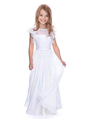 Boho Lange Kinder Spitzenkleid Chiffon Kleid mit Gürtel und Kurzen Butterfly-Ärmeln/Vintage Chic A-Linie Kommunionkleider Brautjungfern Kleider Blumenmädchenkleider für Mädchen 2-12 Jahr (Weiß, 12)