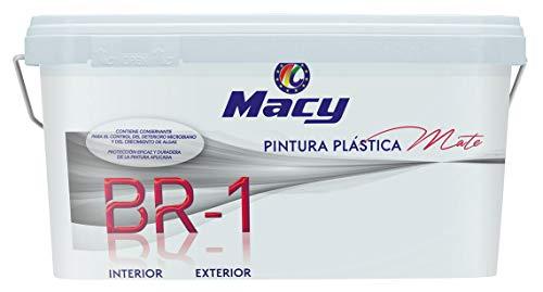 Pintura Plástica Mate BR-1 Antimoho. Con Conservante Antimoho-Antiverdín. Interior y Exterior. 2,5 Litros. Color Blanco