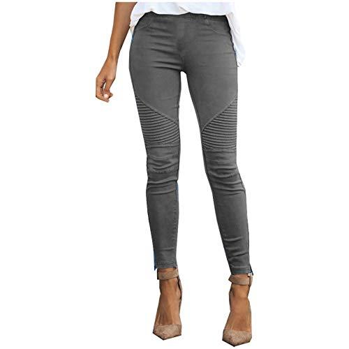 Damen Sommer Casual Lose Hosen Bequeme Arbeitshose Taschen Elastische Hosen mit hoher Taille