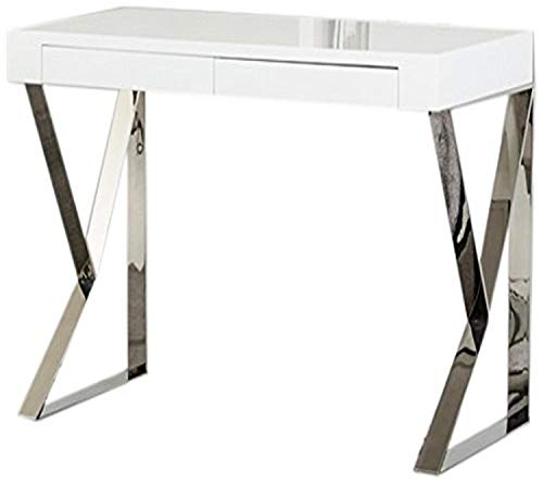 Limari Home The Darin Collection Modern Wood White Home Office Computer Writing Desk with Stainless Steel Metal Leg Base, White