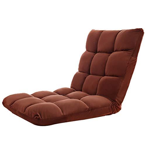 Folding faules Sofa Tatami Adjustable Lounge Chair Stock Balkon Erkerfenster Freizeit Kleines Sofa Lehner Bett (Color : Brown)