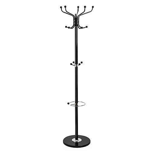 Edaygo Garderobenständer mit Schirmständer, Kleiderständer, 180 cm, Metall mit Marmorfuß, Schwarz, 35 kg max. Belastbarkeit, 14 Haken