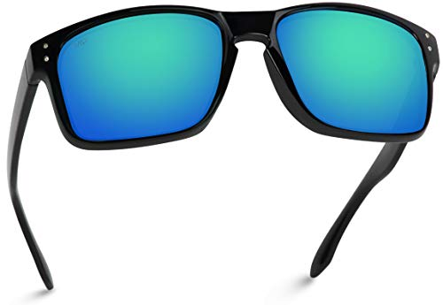WearMe Pro - Premium Polarized Mirror Lens Classic Square Style Sunglasses