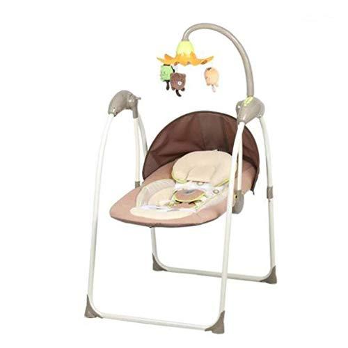 Yingeryaoyi Baby schommelstoel Baby Elektrische schommelstoel, Laad-Bearing 15KG voor 0 tot 24 Maanden Baby, Multi-Functie Muziek Elektrische Draagbare Vouwstoel Baby schommelstoel
