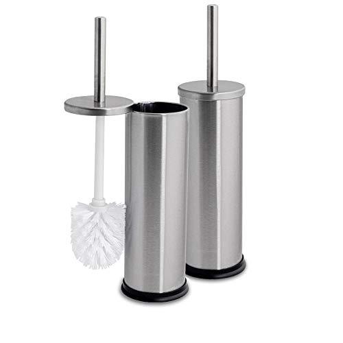 Harbour Housewares Brosses à Toilettes avec Supports Cache-Brosse Clos - Salle de Bain - Finition Acier chromé - Lot de 2