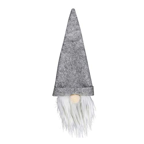 5 Pieces Christmas GNOME Champagne Wine Bottles Cover Sleeve Bag Dining Party Decor Hat for Table Decorations Festival Dinner Party Xmas Gifts (Grey)
