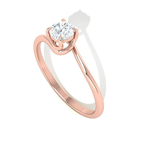 1Ct Diamond SGL Certified Spiral Shank Ring, Unique Bridal Partywear Engagement Ring, HI-SI Color Clarity Diamond Solitaire Ring, Women Wedding Ring, 18K Rose Gold, Size:UK K