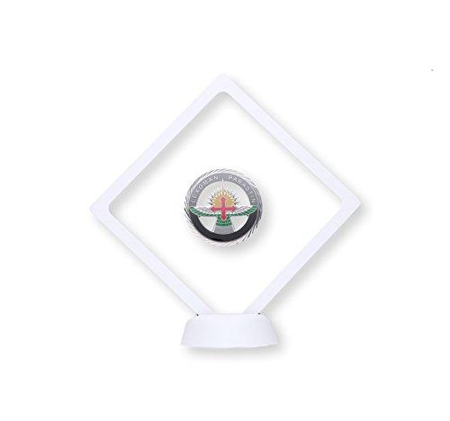 YdoG 3D-objectlijst/muntenstandaard – zwevende lijst met siliconenmembraan – afmetingen 10,8 cm x 10,8 cm x 2 cm – trofee/decoratie/bewaren van munten, postzegels, orden – wit