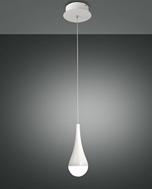 Fabas Luce Pendelleuchte Droppy LED 8W Metall wei Methacrylat satiniert IP20