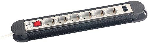 revolt Mehrfachsteckdosenleiste: 6-fach Profi-Steckdosenleiste mit 2 LAN-Anschlüssen und Netzwerkschutz (Steckleisten)