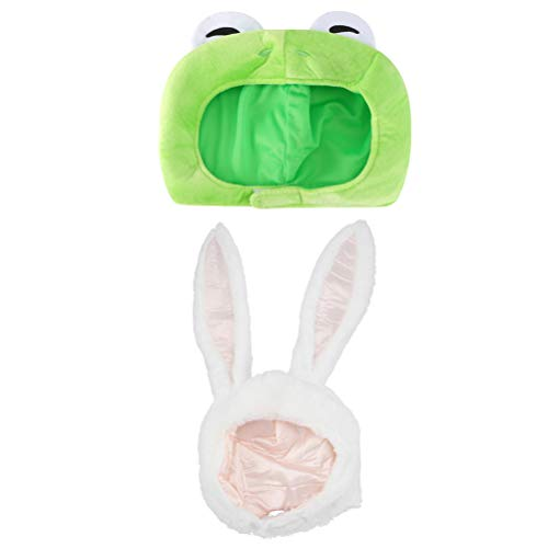 PRETYZOOM 2 Piezas de Sombrero de Rana de Felpa Orejas de Conejo Lindo Disfraz Gorra Novedad Fiesta Vestido Up Cosplay Traje para Niños Adultos