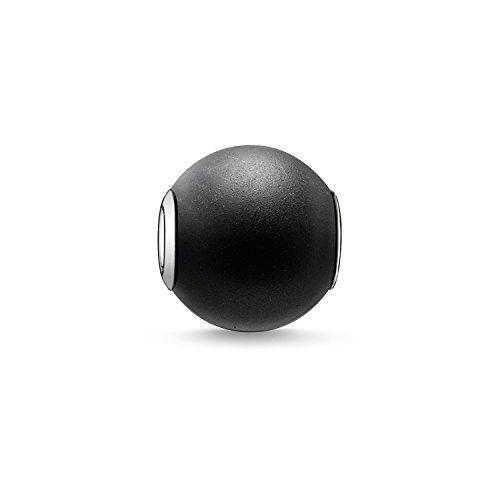 Thomas Sabo Karma Beads, Unisex, cuenta obsidiana mate, Plata de ley 925, K0001-023-11