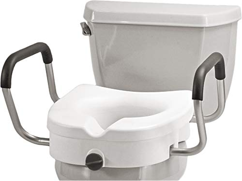 """NOVA Medical Products Elevated Raised Toilet Seat with Removable, Adjustable Padded Arms, 20"""" Width Between Arms, Locking, Easy On and Off for Standard and Elongated Toilets, White, 1 Count"""