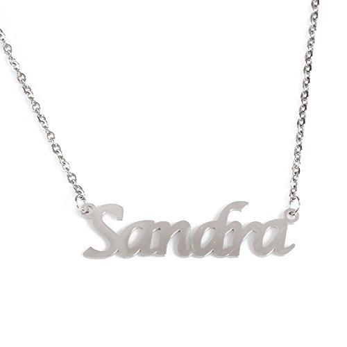 KL Kigu Sandra - Collar de plata con nombre personalizado para mujer, joya de regalo para novia, madre o hermana