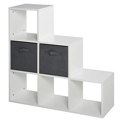 homcom Mobile Libreria a 6 Cubi con 2 Cassetti in Tessuto, Arredamento Moderno da Ufficio, Salotto, Camera da Letto, Bianco e Grigio