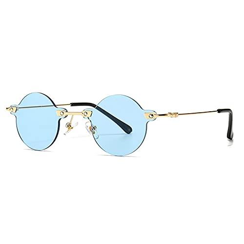 FENGHUAN Gafas de Sol Redondas Vintage para Mujer, Gafas de SolTransparentes sin Montura,Gafas de Sol para Mujer,Azules