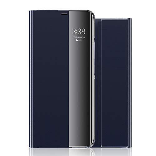 wonfurd Samsung Galaxy Note 9 Hülle Kristallklarer - 360 Grad Clear View Flip Cover Kameraschutz Handyhüllen Leder Flip Hülle mit Standfunktion Schutzhülle Zubehör für Samsung Galaxy Note 9-Dunkelblau