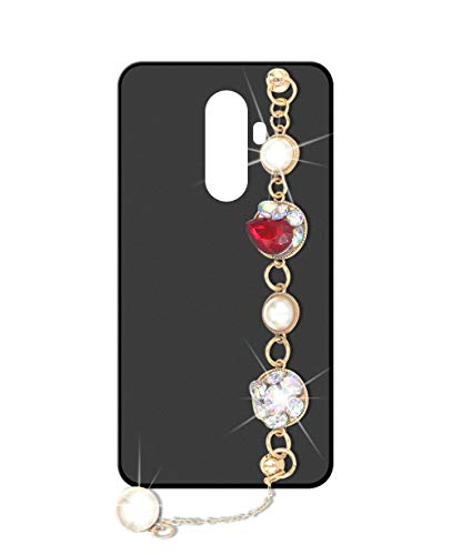 Sunrive Kompatibel mit DOOGEE BL12000 Hülle Silikon,Handykette Glitzer Diamant Strass Handyhülle matt Schutzhülle Etui Kette Hülle Backcover Handschlaufe(Perle) MEHRWEG