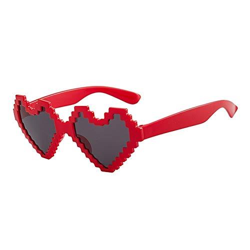 NOBRAND Sombras Día De Forma De Corazón 2pcs Gafas De Sol De Pixelado Fiesta Gafas Gafas De Mosaico De San Valentín (Color : Red)