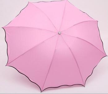 TC Couleur Rose Pliant Coupe-Vent Anti UV Effacer/Pluie coréenne Dentelle Princesse Parasol Parapluie Tub-003