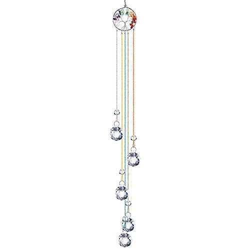 Kristall Sonnenfänger Handgemacht,Fenster Hängende Verzierung,Kristallkugel Prisma Sonnenfänger Chakra Anhänger Leben Baum Verzierung Glasanhänger Hängende Verzierung...