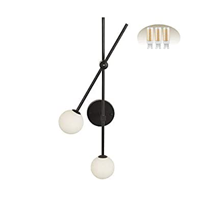 BAODEN 2 Lights Globe Wall Sconce Modern Industrial Wall Lamp with G9 Bulb Mid Century Rotatable Light Fixture Matte Black Finished with White Globe Glass Lampshade (Black Color)