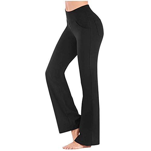 BOLAWOO-77 Yogahosen Damen Sporthose Lang Jazzpants Frauen Jogginghose Mit Taschen Mode Basic Trainingshose Fitnesshose Mode Kleidung Jogginghose (Color : Schwarz, Einheitsgröße : XXL)