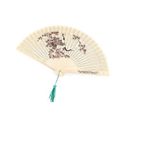 QJXSAN Tragbare Bambus Faltfächer tragbarer Ventilator, Chinesisch/Japanisch-Art reizend eleganter Retro Style, Damenbekleidung Frauen, (Holz Farbe) (Size : 10pcs)