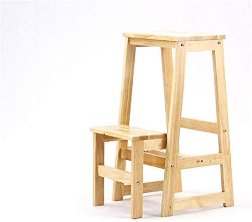 Multifunctionele ladder Two-step houten ladder, Hoogte Ophoging Ladder Kruk dubbele kleur Solid Wood Storage Rack/hoogwaardige metalen hulpstukken Huishoudelijke ladder Ladder huis vouwen
