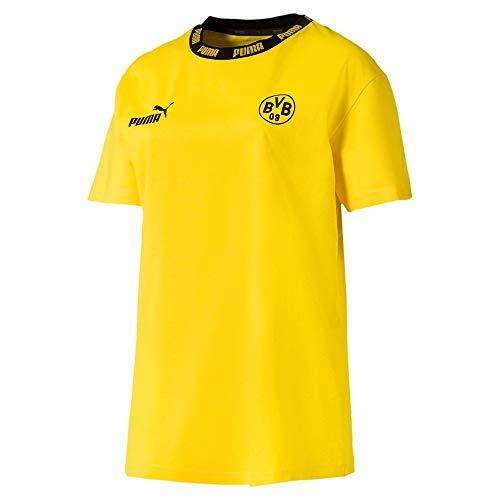 PUMA Damen T-Shirt BVB FtblCulture, Cyber Yellow, M, 756296