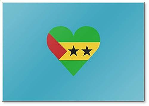 Kühlschrankmagnet, Motiv: Flagge von Sao Tome & Principe in Herzform