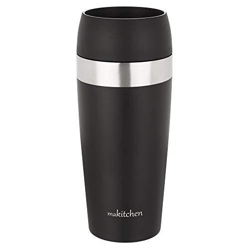 makitchen Thermobecher spülmaschinenfest 420ml schwarz | Kaffeebecher für Coffee to go 100{642f2f0ec6ece0454e617ea8afa911d8a4819391517ab3488e75e2c58d32bed8} auslaufsicher | Edelstahl Trinkbecher mit Deckel | Isolierbecher doppelwandig Vakuum-isoliert | Travel-Mug