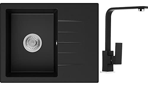Küchenspüle Schwarz 58,5 x 46,5 cm, Spülbecken + Wasserhahn Küche + Siphon Klassisch, Granitspüle ab 45er Unterschrank, Einbauspüle von Primagran