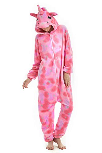 U LOOK UGLY TODAY Unisex Damen Einteiler Einhorn, weiches Fleece-Flanell, Einhorn-Einteiler, Party-Kostüm - - Medium