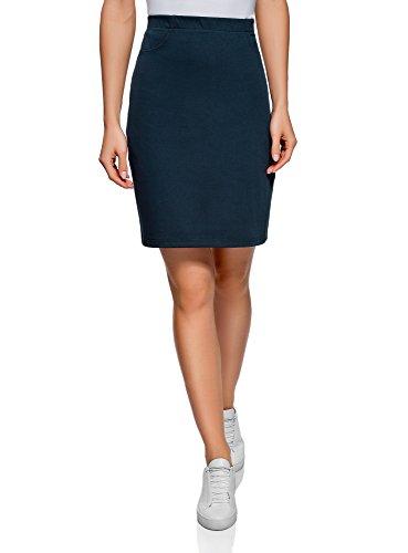 oodji Collection Damen Jersey-Bleistiftrock, Blau, DE 38 / EU 40 / M