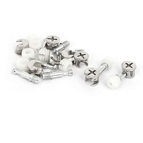 X-DREE Möbelverschraubungen Verbindungsschrauben Nocken - Dübelmuttern Silver Tone 8 Sets (2eeb1ceadd6d1939894de22f67934b7a)