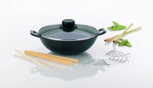 Kela 77747 set wok 5 pièces, fonte, diamètre 24 cm, contenance 3 litres, 'Set wok Mini'