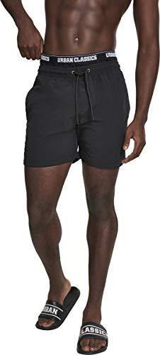 Urban Classics Two In One Swim Shorts Pantalones Cortos, Negro (Blk/Blk/Wht 00703), Medium para Hombre