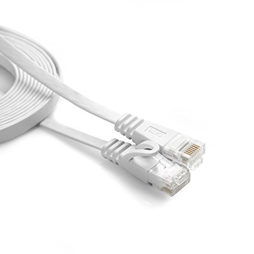 JBSTK 10m - Flachkabel CAT6 | Weiss- 1 Stück | 10/100/1000 Mbit/s | Gigabit LAN Netzwerkkabel