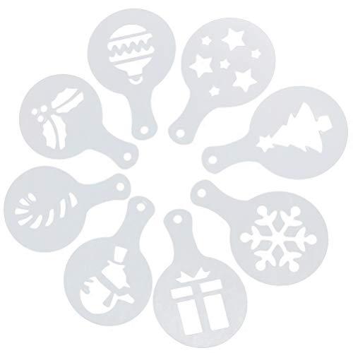 BESTONZON 8 x Weihnachts-Torten-Schablonen für Fondant, Kekse, Kaffee, Puderzucker