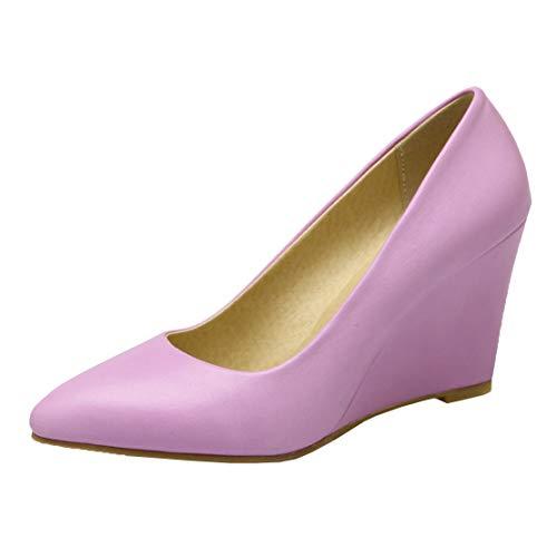 MISSUIT Damen Wedges Pumps Spitz Keilabsatz High Heels Ohne Verschluss Büro Schuhe(Lila,38)