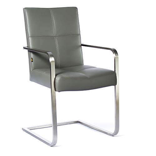SIX Freischwinger Leder-Stuhl Libero Edelstahl Konferenz-Stühle Besucher-Stuhl Grau