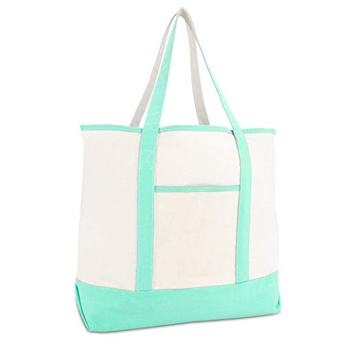22' Heavy Duty Deluxe Tote Bag with Outer Pocket (Mint Green)