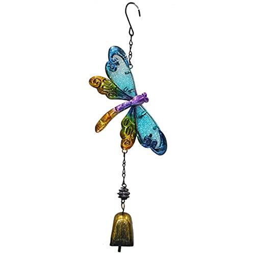 laoonl Móvil de viento, diseño de libélula, artesanía de metal, accesorios creativos para el hogar, los tonos de melodía calmante para tu propio patio, porche, jardín y patios traseros
