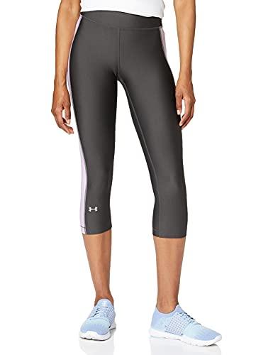 Under Armour UA Heatgear Leggings, Mujer, Gris (Jet Gray/Purple Ace/Metallic Silver), M