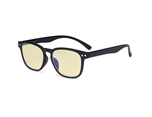 Eyekepper Gafas de bloqueo de luz azul – Lectores antideslumbrantes digitales con filtro amarillo protección UV computadora gafas de lectura mujeres – negro +2.00