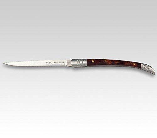 Linder BANDOLERO-Messer, rostfrei, Celluloid, rostfr. Backen,8 cm, Spanische Form, Forma Spagnola Unisex-Adulto, Multicolore, Taglia Unica